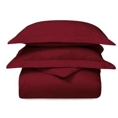 Cotton 3 Piece Duvet Set Color: Burgundy, Size: Twin