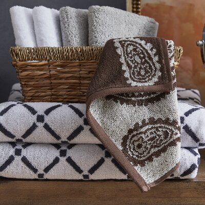 Luxurious Diamonds 6 Piece Towel Set Color: Chocolate/Cream