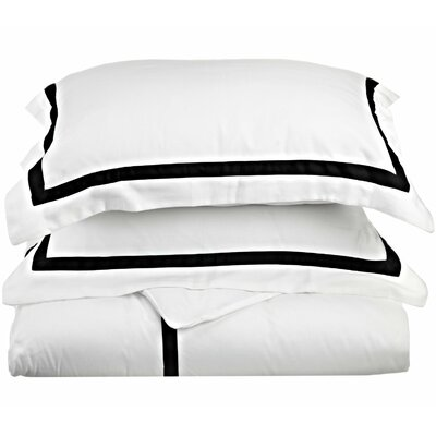 Hotel Reversible Duvet Cover Set Color: White / Black, Size: King / California King
