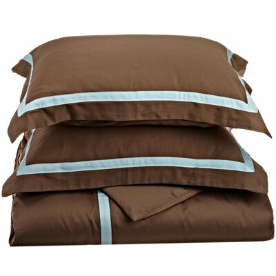Hotel Reversible Duvet Cover Set Color: Mocha / Sky Blue, Size: Full / Queen