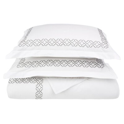 Clayton 3 Piece Embroidered Reversible Duvet Cover Set Size: Full / Queen, Color: Grey