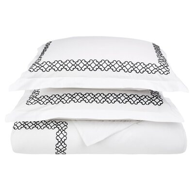 Clayton 3 Piece Embroidered Reversible Duvet Cover Set Size: King / California King, Color: Black