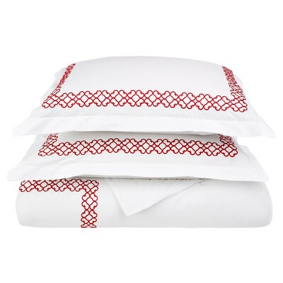 Clayton 3 Piece Embroidered Reversible Duvet Cover Set Size: King / California King, Color: Burgundy