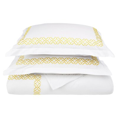Clayton 3 Piece Embroidered Reversible Duvet Cover Set Size: Full / Queen, Color: Gold