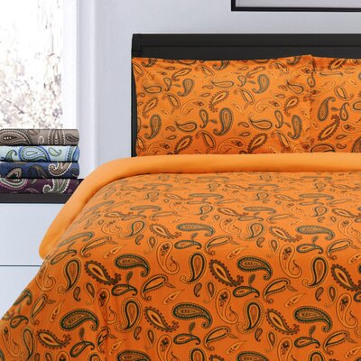 Pantoja Paisley and Solid Flannel Cotton Duvet Set Color: Pumpkin Paisley, Size: Full/Queen