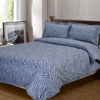 Impressions Reversible Duvet Cover Set Color: Gray, Size: Full/Queen