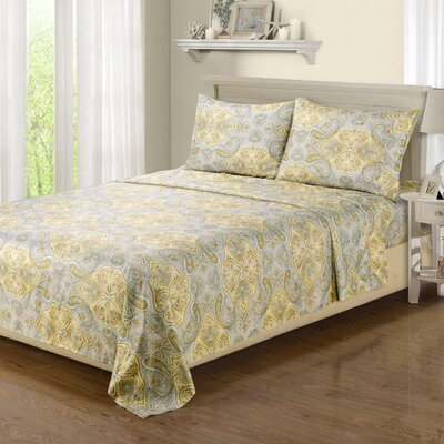 Impressions 1800 Microfiber Sheet Set Size: Queen, Color: Yellow/Gray