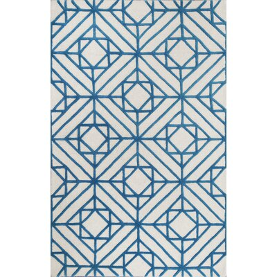 Dewar Diamond Hand Tufted Blue Area Rug Rug Size: 5 x 8