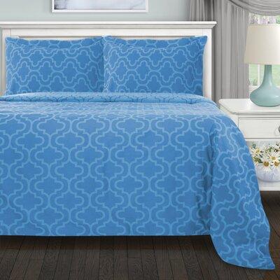 Garris 3 Piece All Season Duvet Cover Set Color: Light Blue Trellis, Size: Full/Double