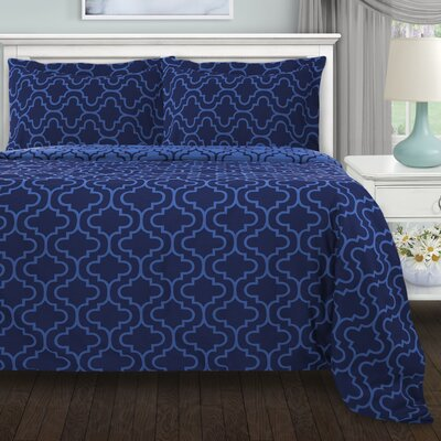 Garris 3 Piece All Season Duvet Cover Set Color: Navy Blue Trellis, Size: Full/Double