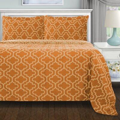 Garris 3 Piece All Season Duvet Cover Set Color: Pumpkin Trellis, Size: Twin