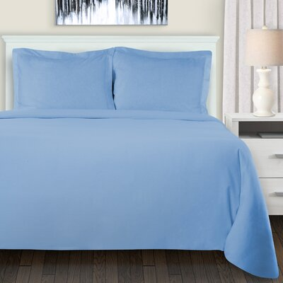 Mandy Duvet Cover Set Color: Light Blue, Size: King