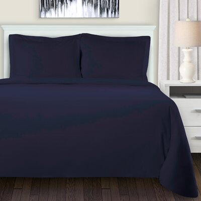 Metropole Duvet Cover Set Color: Navy Blue, Size: Full/Double