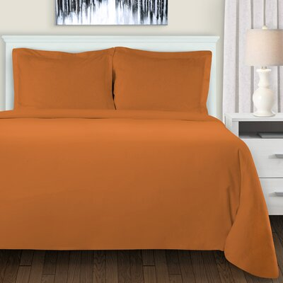 Mandy Duvet Cover Set Color: Pumpkin, Size: King