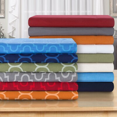 Cullen 4 Piece Geometric Cotton Flannel Sheet Set Size: King, Color: Navy Blue Trellis