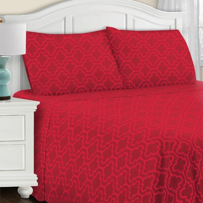 Cullen 4 Piece Geometric Cotton Flannel Sheet Set Size: King, Color: Burgundy Trellis