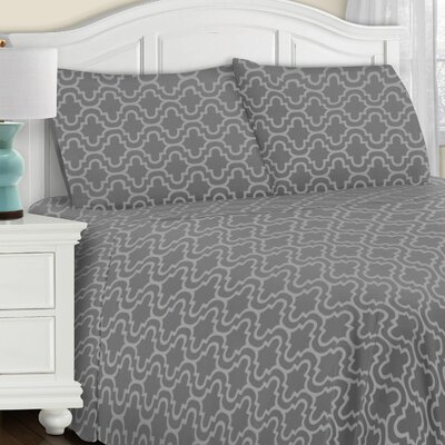 Benito All Season Pillowcase Set Color: Gray Trellis, Size: King
