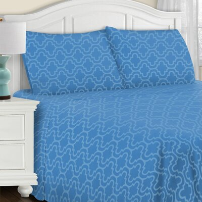 Larksville 4 Piece Cotton Flannel Sheet Set Size: Full/Double, Color: Light Blue Trellis