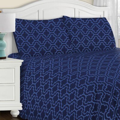 Larksville 4 Piece Cotton Flannel Sheet Set Size: Queen, Color: Navy Blue Trellis