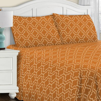 Larksville 4 Piece Cotton Flannel Sheet Set Size: Twin, Color: Pumpkin Trellis
