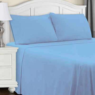 Cullen Flannel Sheet Set Color: Light Blue, Size: Queen