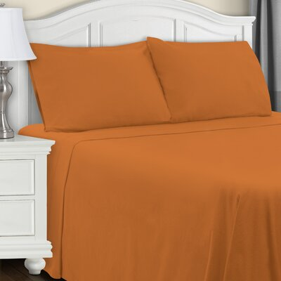 Cullen Flannel Sheet Set Color: Pumpkin, Size: Full/Double