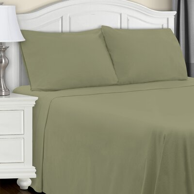 Larksville 4 Piece Cotton Flannel Sheet Set Color: Sage, Size: Queen