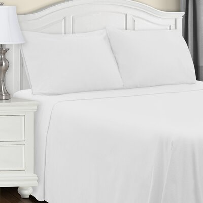 Cullen Flannel Sheet Set Color: White, Size: Full/Double