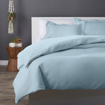 Cotton Rich 3 Piece Duvet Set Size: Full/Queen, Color: Light Blue