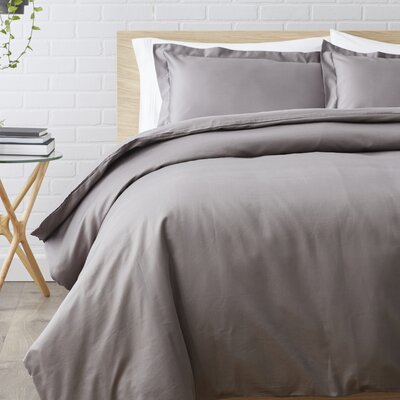 Superior Egyptian-Quality Cotton 3 Piece Duvet Set Size: King/California King, Color: Grey