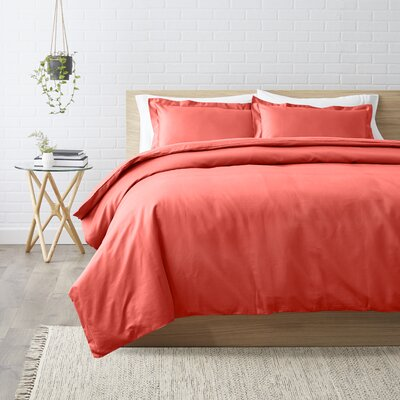 Superior Egyptian-Quality Cotton 3 Piece Duvet Set Size: Full/Queen, Color: Coral