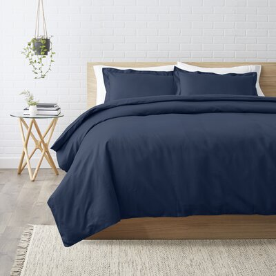 3 Piece Duvet Cover Set Size: Full/Queen, Color: Navy Blue
