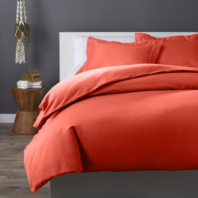 Cotton Rich 3 Piece Duvet Set Size: Full/Queen, Color: Coral