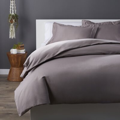 Cotton Rich 3 Piece Duvet Set Color: Gray, Size: King/California King