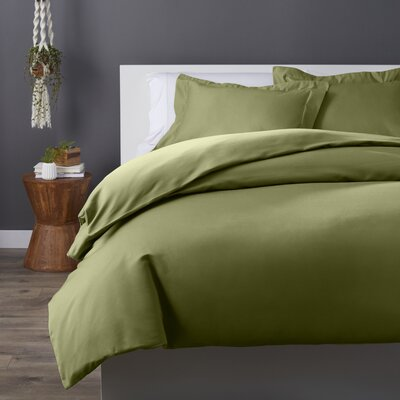 Cotton Rich 3 Piece Duvet Set Size: King/California King, Color: Sage