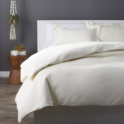 Cotton Rich 3 Piece Duvet Set Size: Full/Queen, Color: Ivory