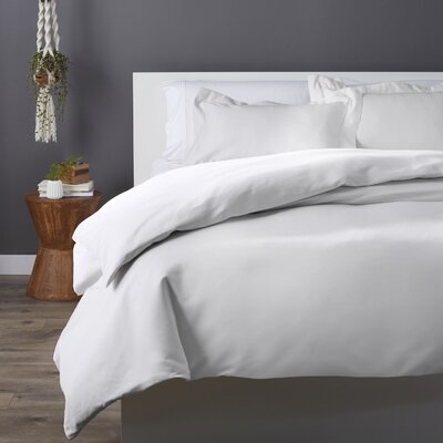 Cotton Rich 3 Piece Duvet Set Size: Full/Queen, Color: White