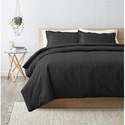 Superior Egyptian-Quality Cotton 3 Piece Duvet Set Size: Full/Queen, Color: Black