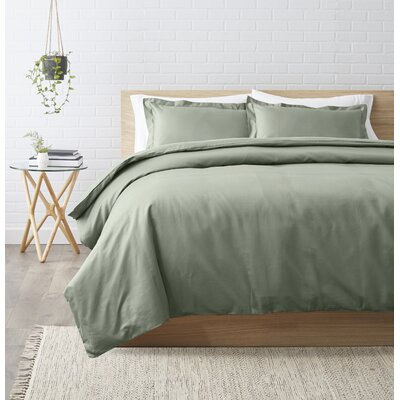 Superior Egyptian-Quality Cotton 3 Piece Duvet Set Size: King/California King, Color: Sage