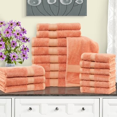 Cullen 18 Piece Towel Set Color: Salmon