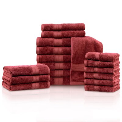 Cullen 18 Piece Towel Set Color: Crimson