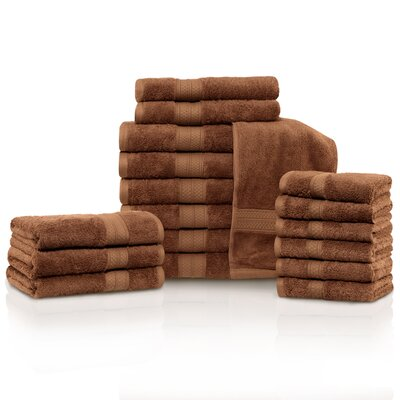 Larksville 18 Piece Towel Set Color: Cocoa