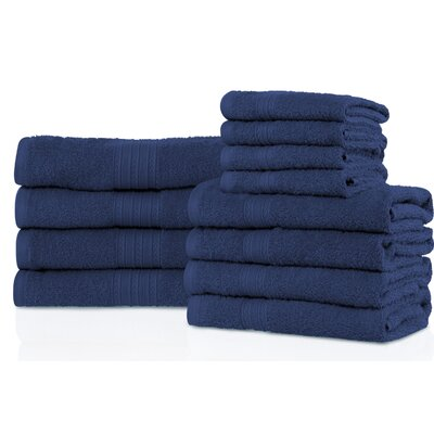Patric 12 Piece Towel Set Color: Navy Blue