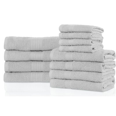 Patric 12 Piece Towel Set Color: Silver