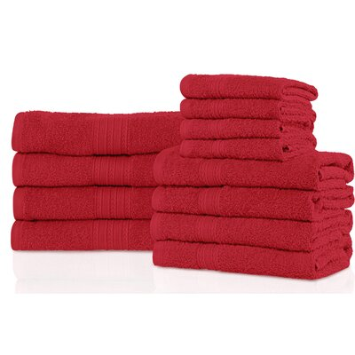 Patric 12 Piece Towel Set Color: Cranberry