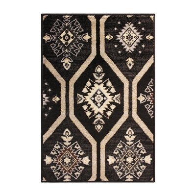 Marquez Black/Beige Area Rug Rug Size: Rectangle 4 x 6