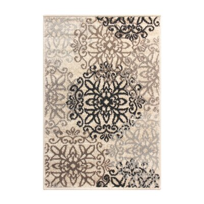 Tolliver Ivory/Black Area Rug Rug Size: Rectangle 2 x 3