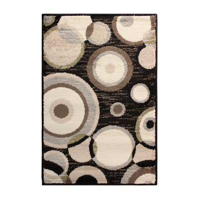 Yates Black/Brown Area Rug Rug Size: 4 x 6