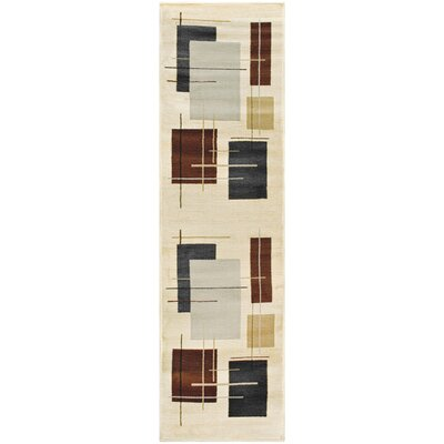 Dinn Cream Area Rug Rug Size: Runner 27 x 8