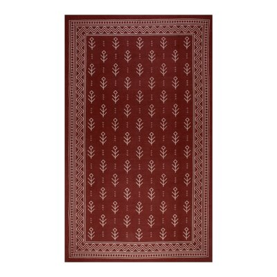 Azaria Royal Club 100% Cotton Hand-Woven Burgundy Area Rug Rug Size: 5 x 8